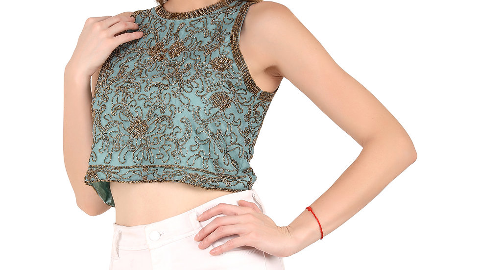 UNFAKENOW Party No Sleeve Embellished Women Light Blue Top