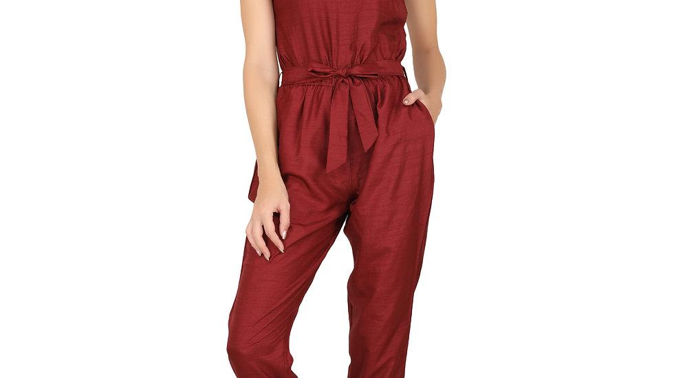 UNFAKENOW  Solid Women Maroon Cotton  Jumpsuit