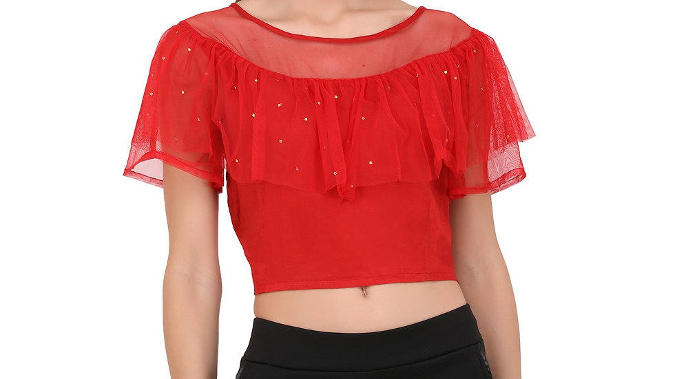 UNFAKENOW  Casual Flared Sleeves Pearl Embellished Women Red Top