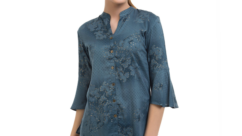 UNFAKENOW  Casual 3/4 Sleeve Floral Print Women Grey Top