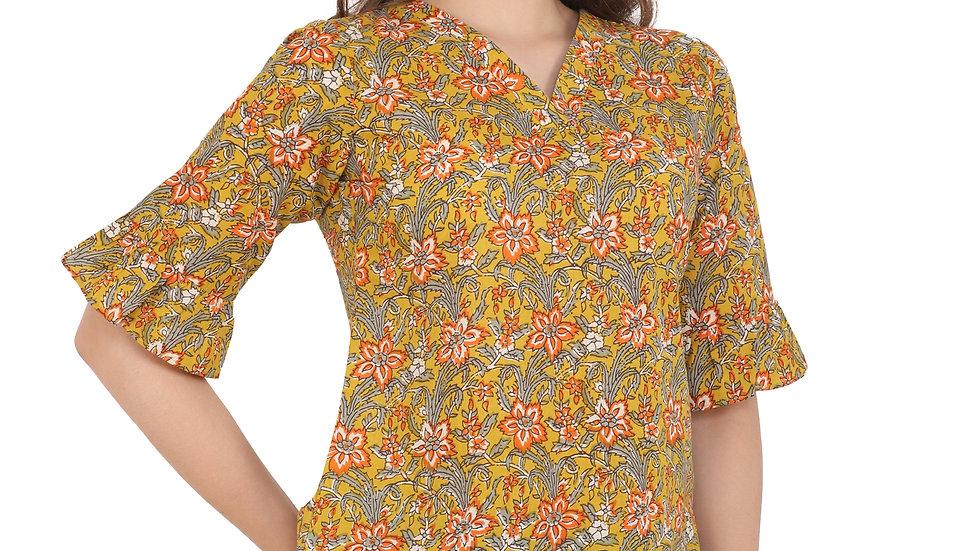 UNFAKENOW  Casual Half Sleeve Floral Print Women Brown Top