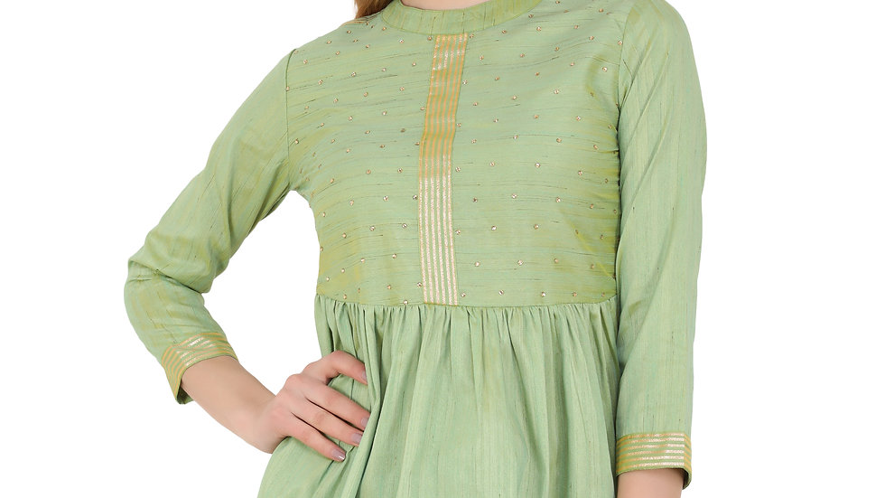 UNFAKENOW  Casual 3/4 Sleeve Embellished Women Green Top