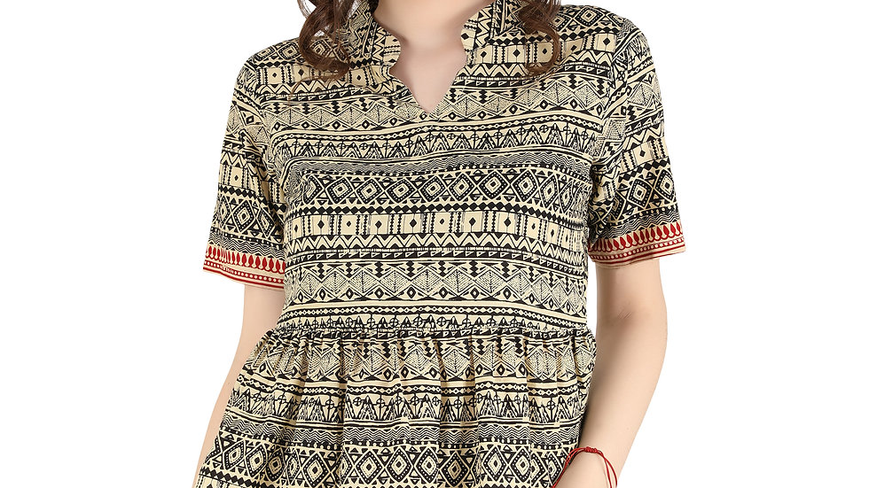 UNFAKENOW Casual Regular Sleeve Geometric Print Women Multicolor Cotton Top