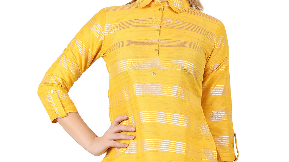 UNFAKENOW  Casual Roll-up Sleeve Striped Women Yellow Top