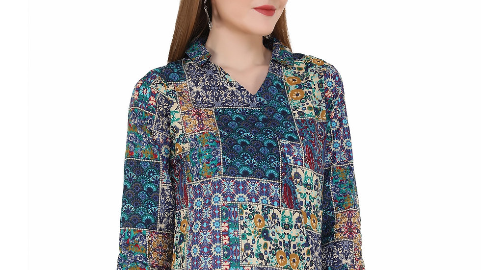 UNFAKENOW  Casual 3/4 Sleeve Floral Print Women Multicolor Top
