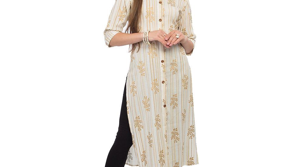 UNFAKENOW  Women Floral Print Cotton Blend Straight White Kurta