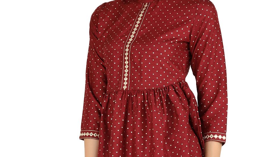UNFAKENOW  Casual 3/4 Sleeve Polka Foil Print Women Maroon Cotton Top
