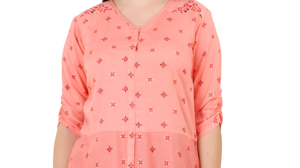 UNFAKENOW  Casual Regular Sleeve Printed Women Light Pink Top
