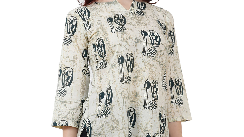 UNFAKENOW  Casual 3/4 Sleeve Floral Print Women OffWhite Top