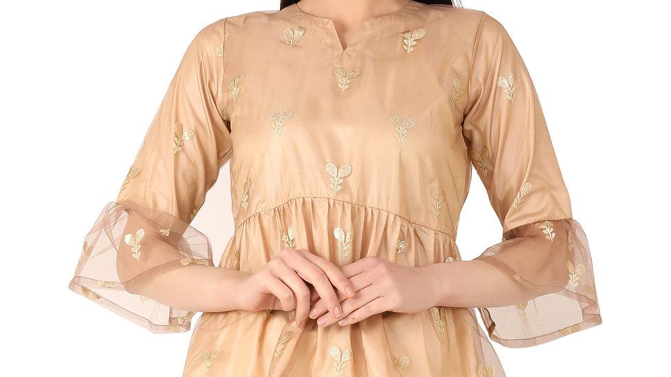 UNFAKENOW  Casual 3/4 Sleeve Floral Printed Women Beige Net Top