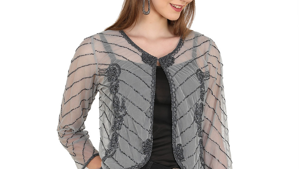UNFAKENOW  Women 3/4th Sleeve Grey Shrug