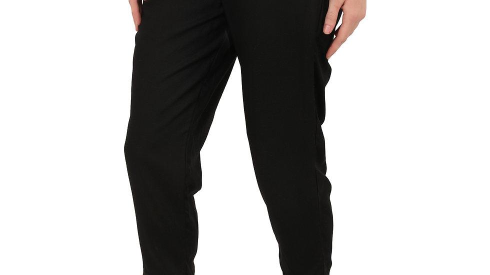UNFAKENOW  Regular Fit Women Solid Black Cotton Blend Trousers