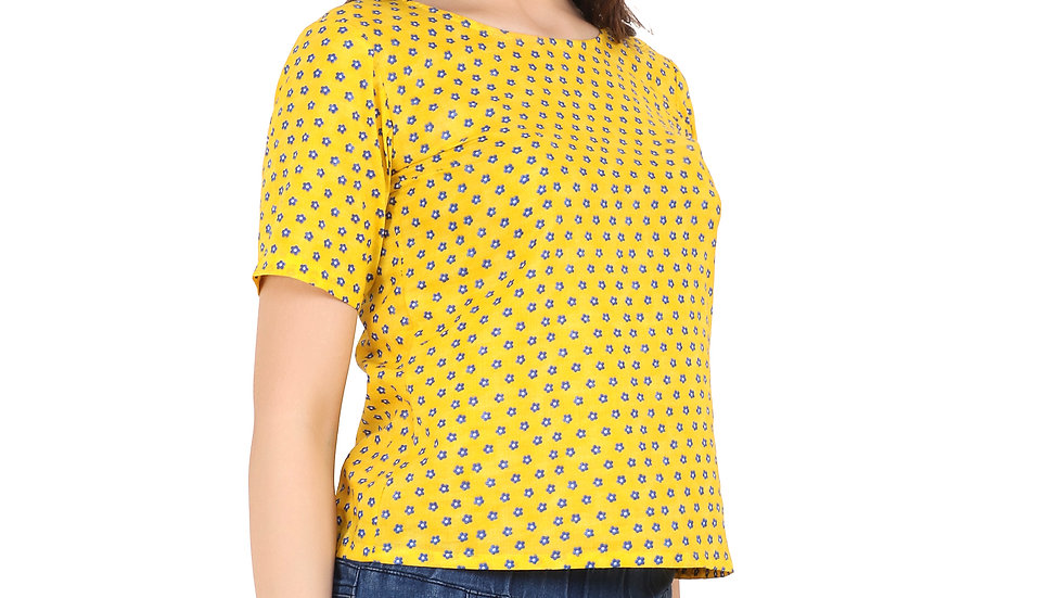 UNFAKENOW  Casual Regular Sleeve Printed Women Yellow Top