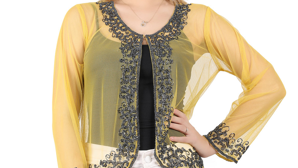 UNFAKENOW Women Embellished Jacket Style Full Sleeve Yellow Net Shrug