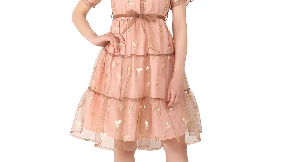 UNFAKENOW  Women Net Floral Printed Peplum Pink Dress