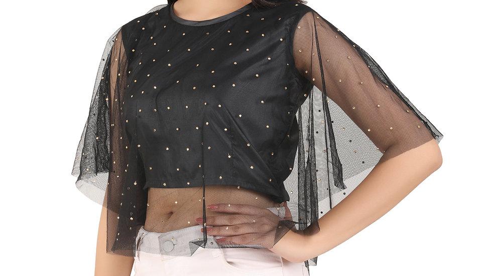UNFAKENOW  Casual 3/4 Sleeve Pearl Embellished Women Black Net Crop Top
