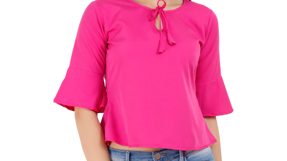 UNFAKENOW  Casual Bell Sleeve Solid Women Pink Top