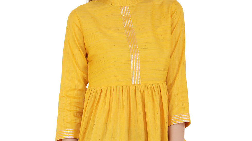 UNFAKENOW  Casual 3/4 Sleeve Lace Women Yellow Top