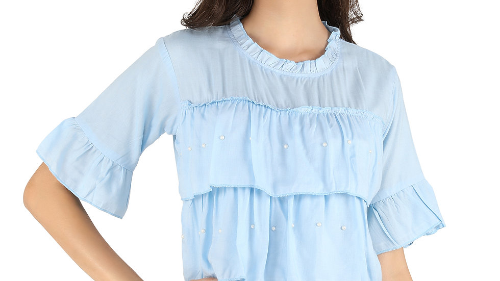 UNFAKENOW  Casual Flared Sleeve Pearl Studded Solid Women Light Blue  Rayon Top