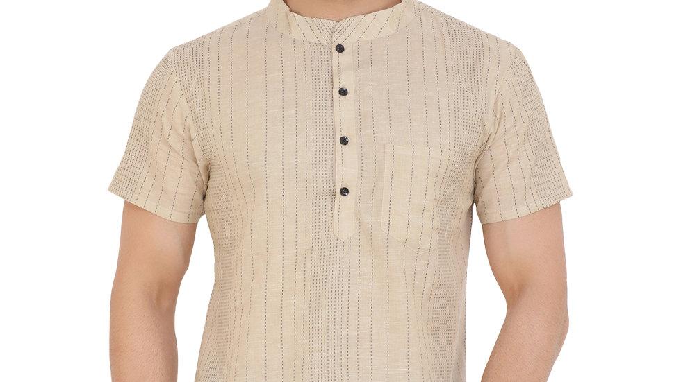 UNFAKENOW  Men Striped Khadi Cotton Straight Kurta  (Beige)