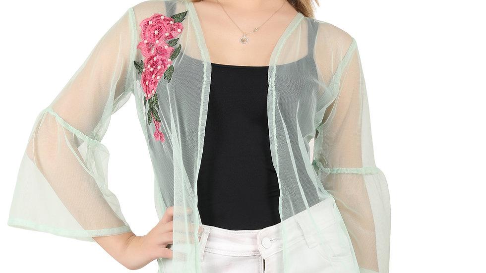 UNFAKENOW Women Kimono Style Embroidered  3/4th Sleeve Light Green Shrug