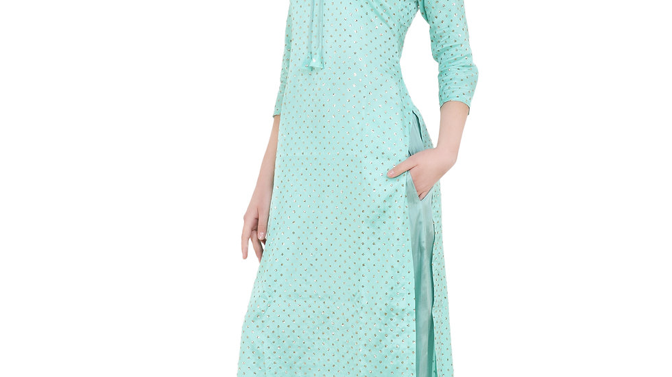 UNFAKENOW  Women Kurta and Palazzo Set Cotton Viscose Blend