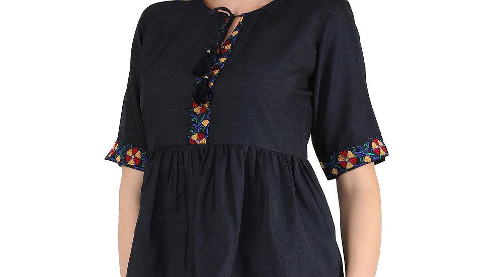 UNFAKENOW  Casual Half Sleeve Floral Embroidered Women Dark Blue Cotton Top