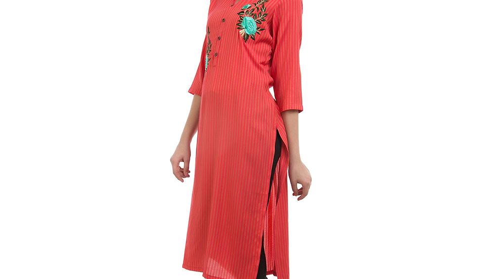 UNFAKENOW  Women Embroidered Cotton Blend Straight Red Kurta