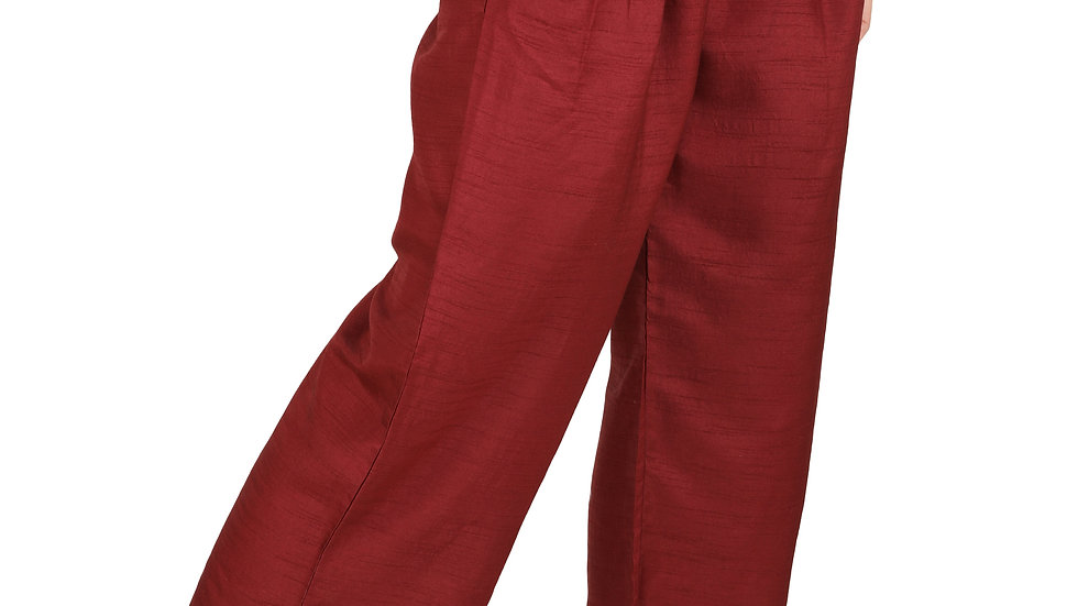 UNFAKENOW  Relaxed Women Solid Maroon Cotton Silk Trousers
