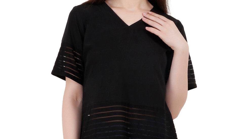 UNFAKENOW  Casual Regular Sleeve Striped Women Black Top