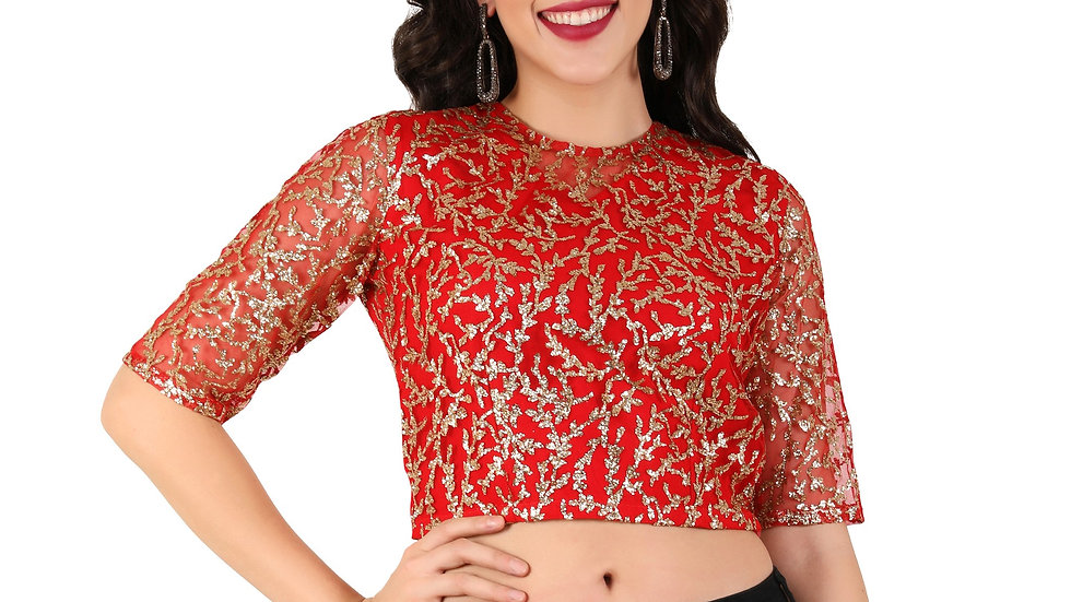 UNFAKENOW  Party Half Sleeve Embellished Women Red Top
