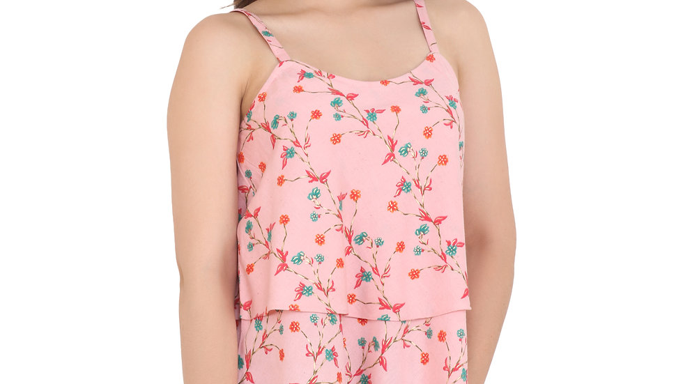 UNFAKENOW  Casual Sleeveless Floral Print Women Pink Top