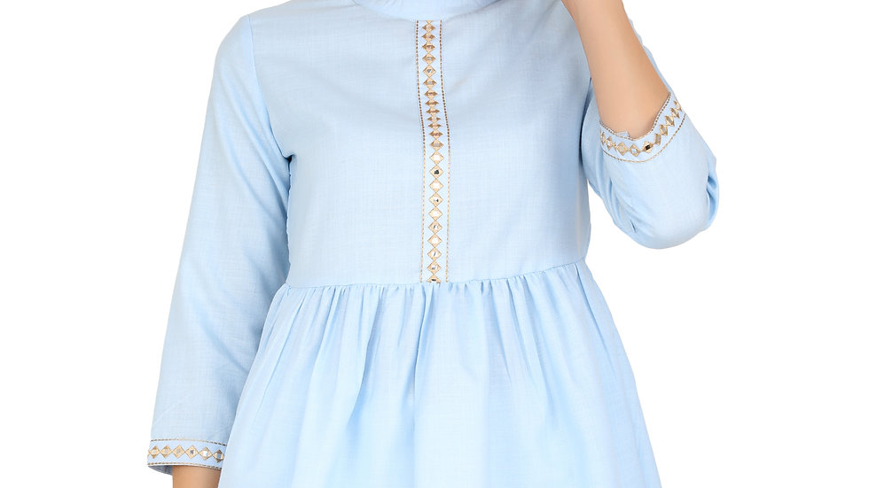 UNFAKENOW Mirror Embroidered Casual 3/4 Sleeve Solid Women Light Blue Top