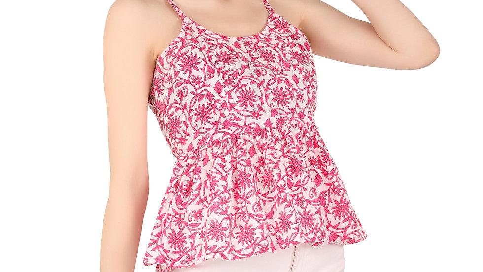 UNFAKENOW  Casual Sleeveless Floral Print Women Pink Cotton Top