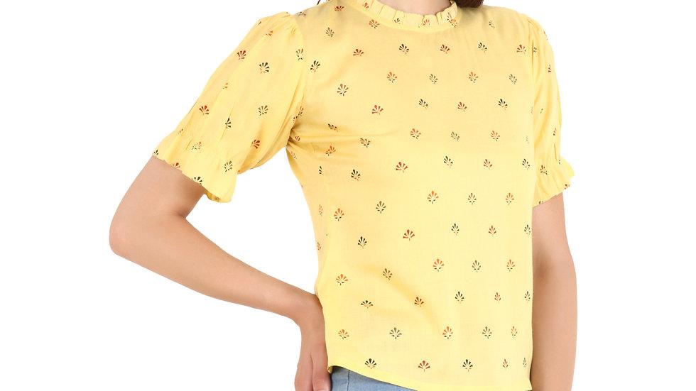 UNFAKENOW  Casual Puff Sleeve Printed Women Yellow Top