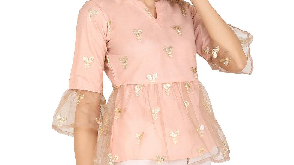 UNFAKENOW  Casual Bell Sleeve Net Floral Printed Women Pink Top