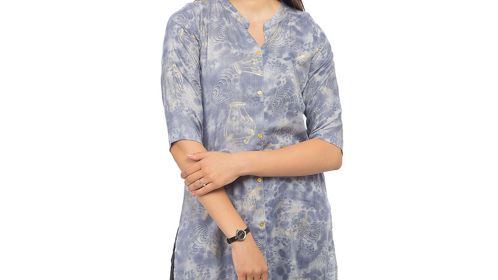 UNFAKENOW  Women Floral Print Cotton Blend Straight Light Blue Kurta