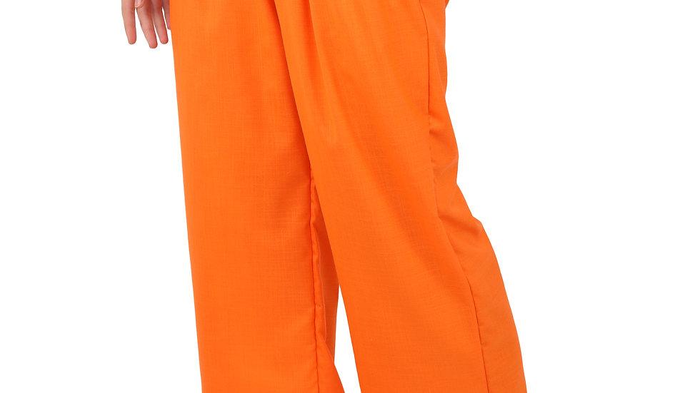 UNFAKENOW  Relaxed Women Solid Orange Cotton Silk Trousers