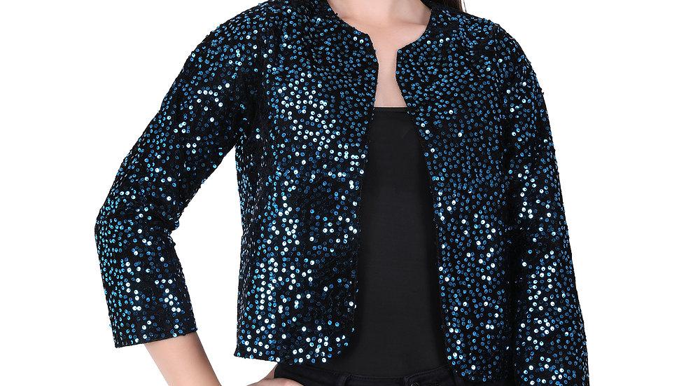 UNFAKENOW  Women Jacket Style 3/4th Sleeve Sequence Embellished Dark Blue Shrug