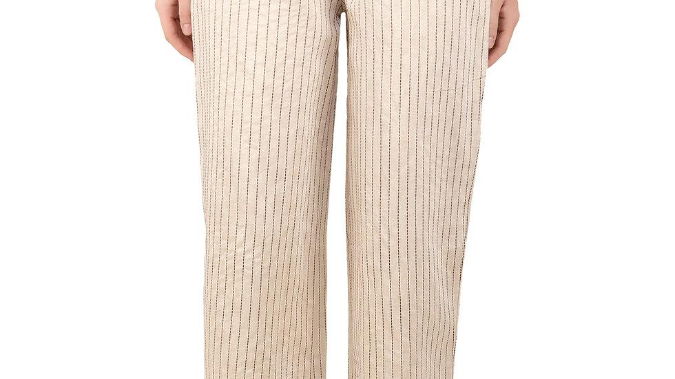 UNFAKENOW Relaxed Women Cotton Silk White Trousers
