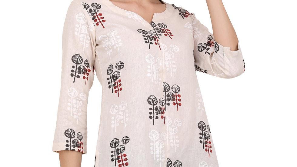 UNFAKENOW  Casual Regular Sleeves Floral Print Women White Top