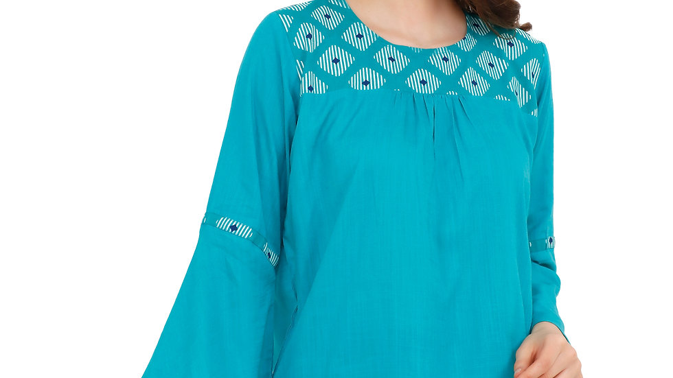 UNFAKENOW  Casual Bell Sleeve Printed Women Light Blue Top