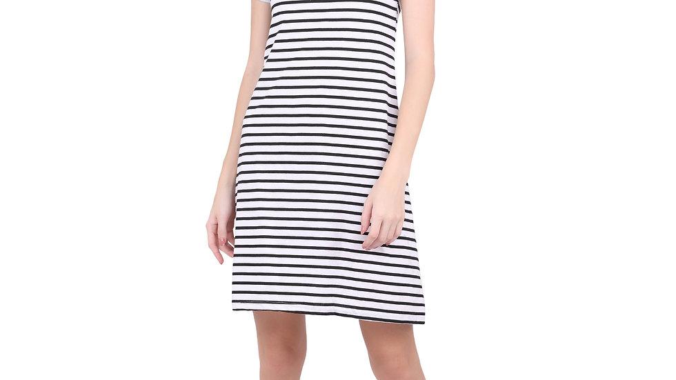 UNFAKENOW  Women Lycra Striped Dress
