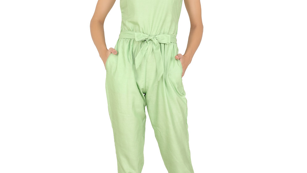 UNFAKENOW  Solid Women Light Green Cotton Jumpsuit