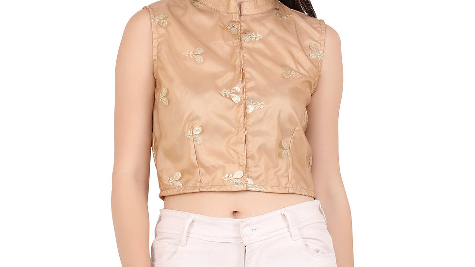 UNFAKENOW  Casual Sleeveless Printed, Embroidered Women Gold Top