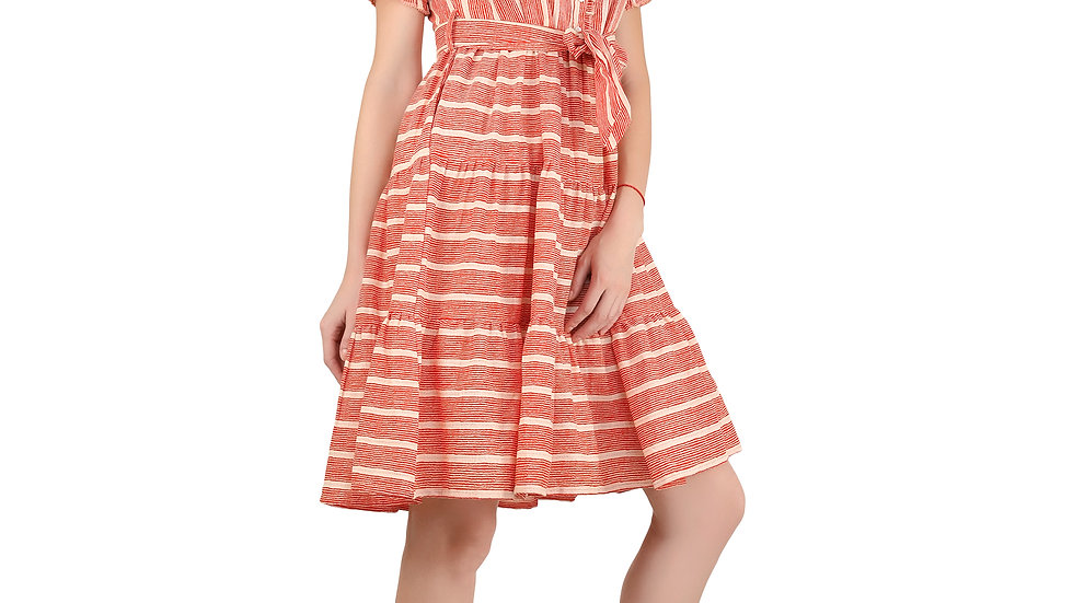 UNFAKENOW  Women Striped Printed Gathered Multicolor Cotton Dress