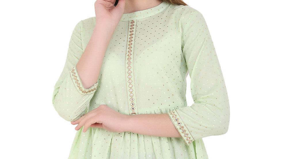 UNFAKENOW  Casual 3/4 Sleeve Polka Print Women Light Green Top