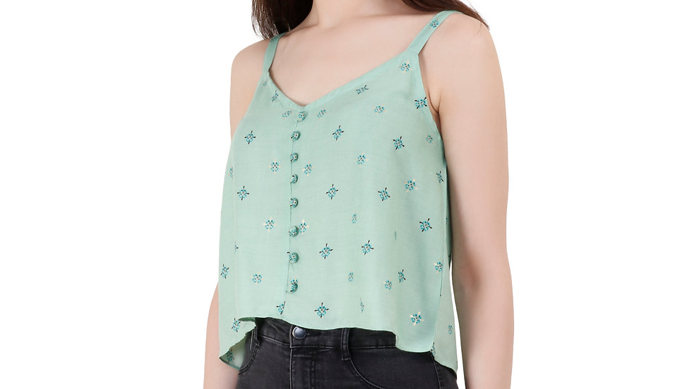 UNFAKENOW  Casual No Sleeve Self Design Women Light Green Top