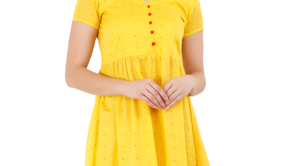 UNFAKENOW  Women Fit and Flare Yellow Dress