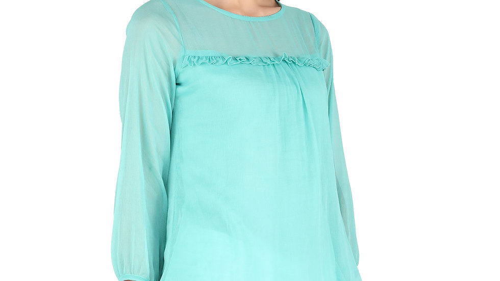 UNFAKENOW  Casual 3/4 Sleeve Solid Women Light Blue Chiffon Top